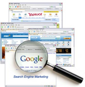 Word of the Day: Discover | Image of search engines Google, Yahoo, MSN and magnifying glass